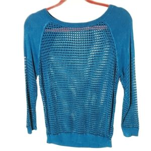 Express knitted top teal size small petite